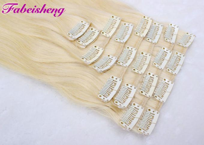 Long Clip In Hair Extensions , Brazilian Real Human Hair Extensions Clip In
